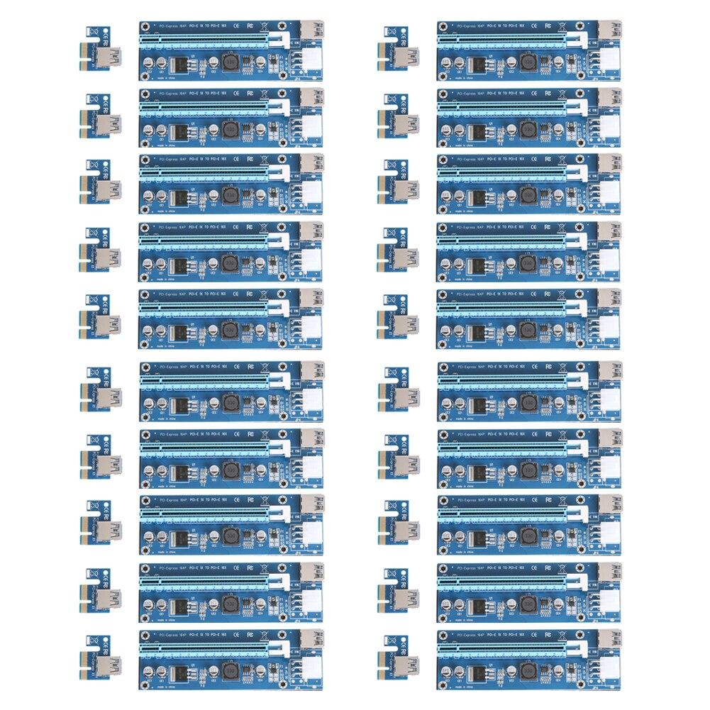 bilder für 20 stücke SATA 15Pin zu 6Pin Kabel PCI-E Riser Card 1X zu 16X Extender mit Netzteil USB 3.0 Kabel für grafiken für Bitcoin Miner