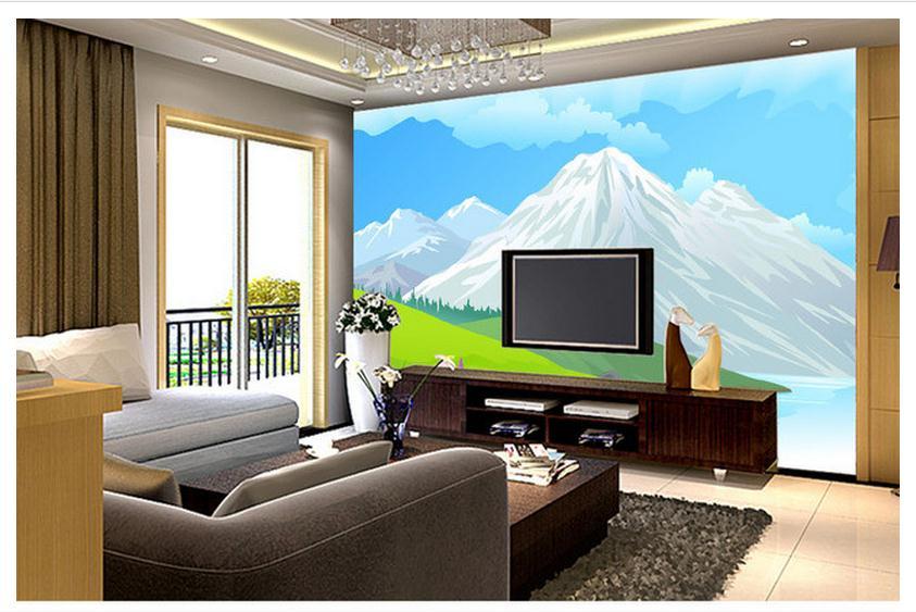 Online get cheap cartoon landscape backgrounds aliexpress for Cheap living room wallpaper