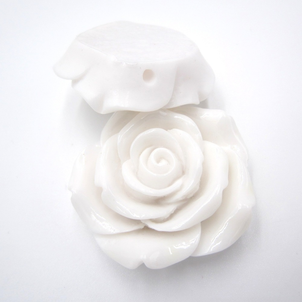 42mm 10pcs/lot White Color Acrylic Big Resin Rose Flower Beads for Handmade Girls Chunky Bead Necklace Children Bracelet Jewelry