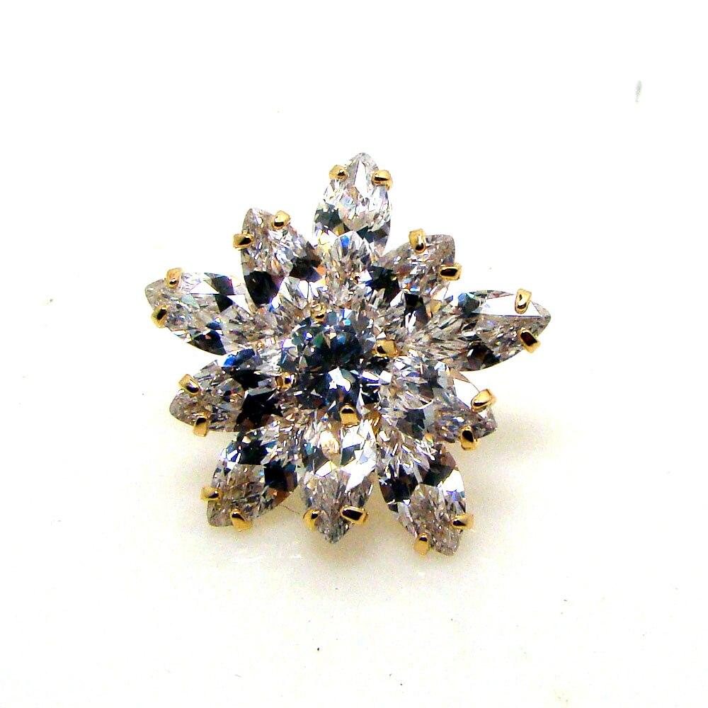 Cubic Zirconia stones copper metal 25mm flower charm collar pin ...