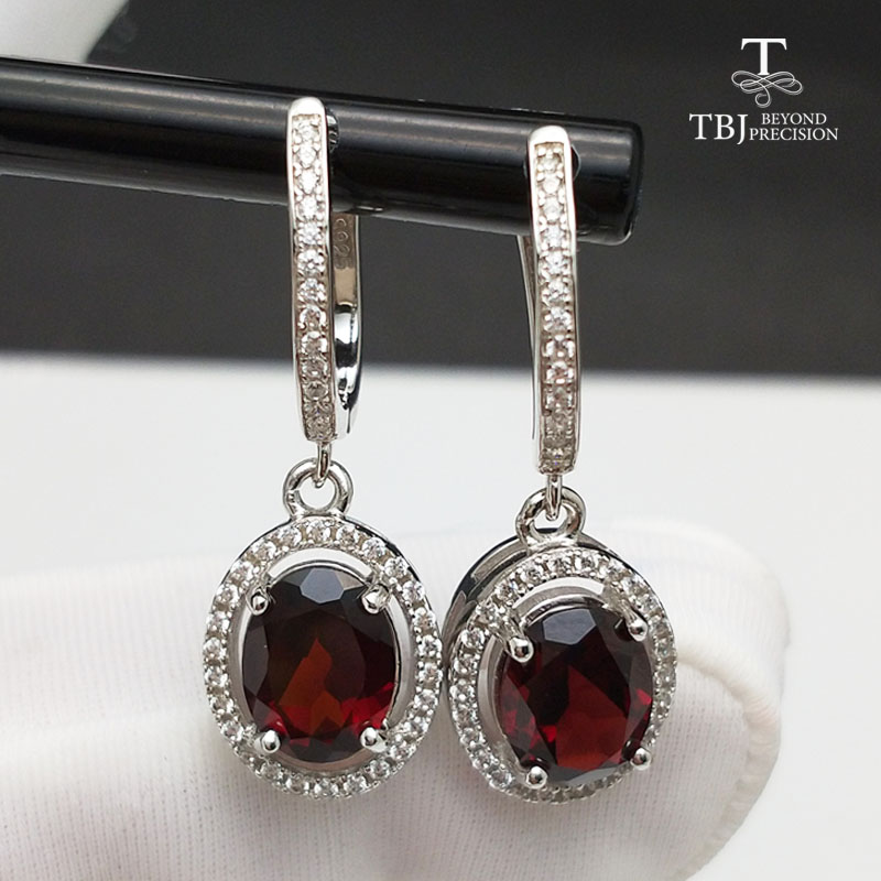 TBJ,Brand Design <font><b>Elegant</b></font> clasp <font><b>drop</b></font> <font><b>earring</b></font> with excellent red garnet in 925 silver yellow <font><b>gold</b></font> color female <font><b>jewelry</b></font> with box image