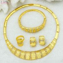 725c4c4e58 Liffly de 24 k conjuntos de joyas de oro, collar, pendientes de boda,  joyería de Dubai conjuntos de joyas al por mayor