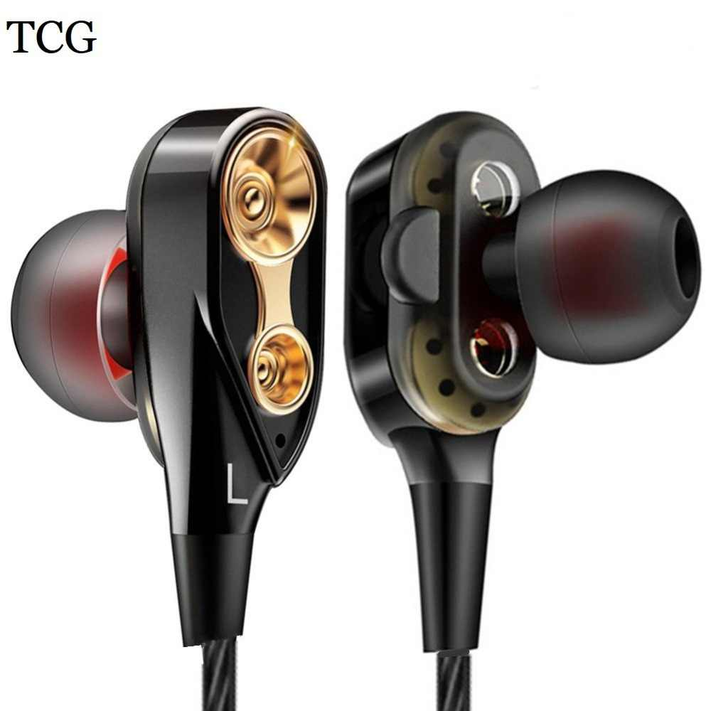 TCG Dual Drivers Earphone Super Bass Sport Headphones Earbuds with Mic Stereo Music Headset for Phone Iphone Xiaomi Samsung