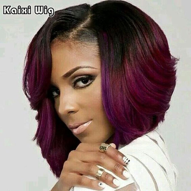 Ombre Red Bob Wigs for Black Women Synthetic Short Wigs for Women Sale Short Ombre Bob Wig Cheap African American Wigs