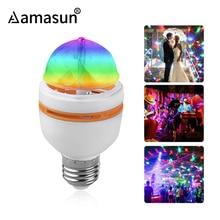E27 3W AC90 260V kolorowe automatyczne obracająca się żarówka LED RGB światło sceniczne Disco impreza z dj em lampa świąteczna żarówka do oświetlenia baru KTV