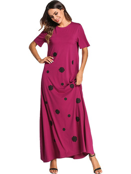187073 Euramerica Applique Knitted Pure Color Dress Gown Arabia Long Skirts Big Size Women's Dresses Muslim Women Abaya