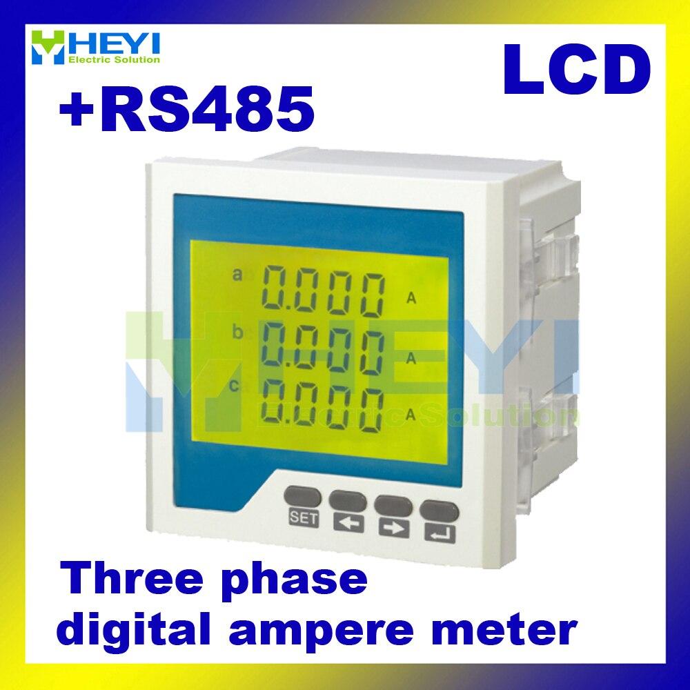 LCD digital ampere medidor de tres fase AC digital amperimétrica HY-3AA medidor de electricidad con RS485 comunicación
