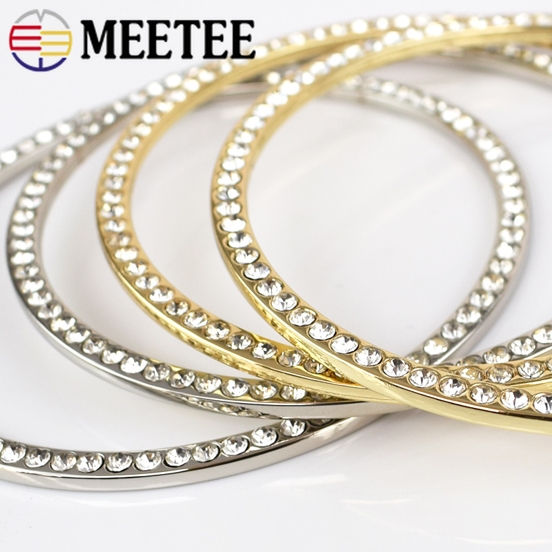 Meetee 2pcs Metal Alloy Rhinestones O Ring Handles DIY Clothing Bag Buckles Decoration Craft Hardware Accessories BD371 in Buckles Hooks from Home Garden