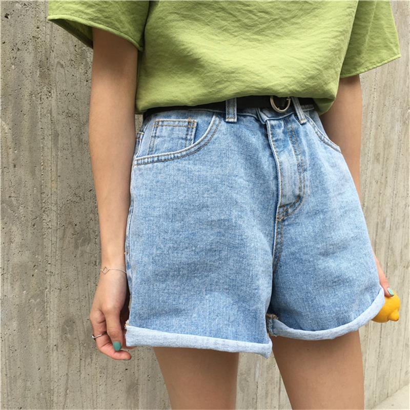 2018 Women's Korean Punk Harajuku Ulzzang Belt Loose Denim   Shorts   Female Ladies Kawaii Button Clothing For Women (with Belt)