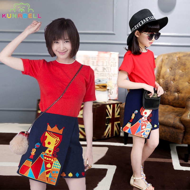 KUNABELL-Liu Store Fashion Brand Mother Daughter Girls Family Queen Embroidery Dress Princess T-shirt + Skirts Party 2Pcs Piece Clothing Sets D37