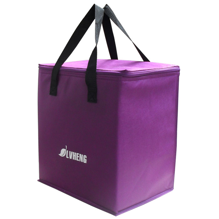 purple light non-woven cooling handbag easy taking food thermal bag 9L cheap fresh ice bag w/foil insulating