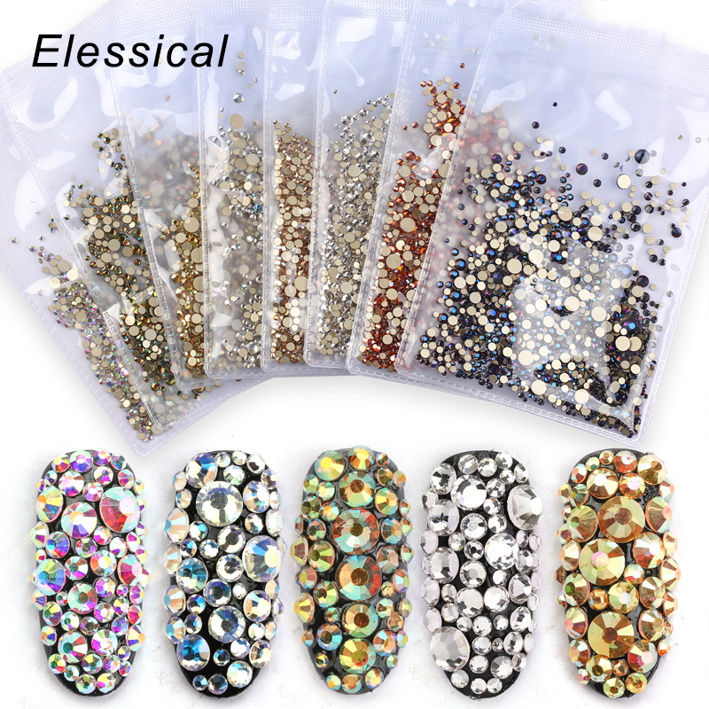 Elessical 1440pcs Mix Nail Rhinestones Stones Design Strass Nail Art Decoration Bijoux Ongles 3d Nail Charms Manicure Supplies