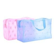 Купить с кэшбэком 9x16x20cm PVC Jewelry Bags Women Fashion Packaging Pencil Bag Waterproof Flower Pattern Jewelry Pouches Packing Case