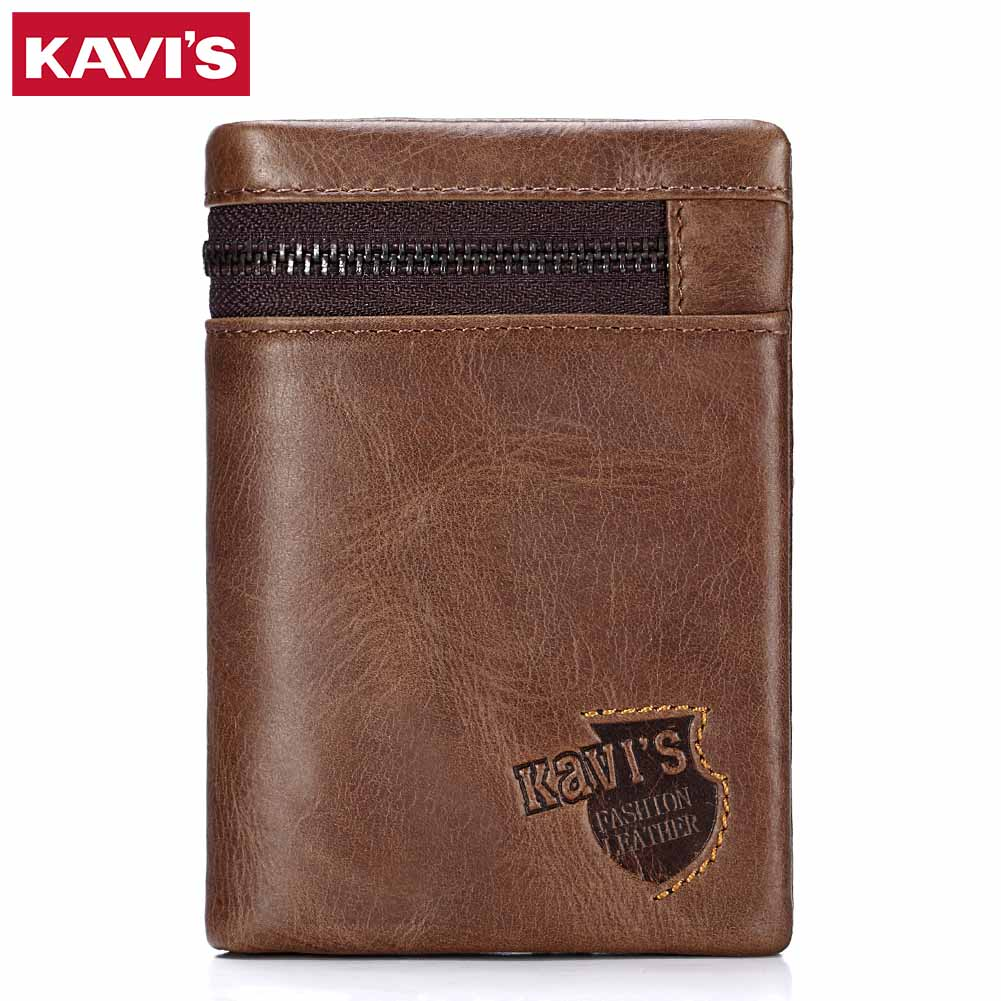 KAVIS Brand Genuine Leather Wallet Men Coin Purse Card Holder Male Cudan Money Bag Portomonee Small Walet Perse With Rfid Vallet joyir vintage men genuine leather wallet short small wallet male slim purse mini wallet coin purse money credit card holder 523