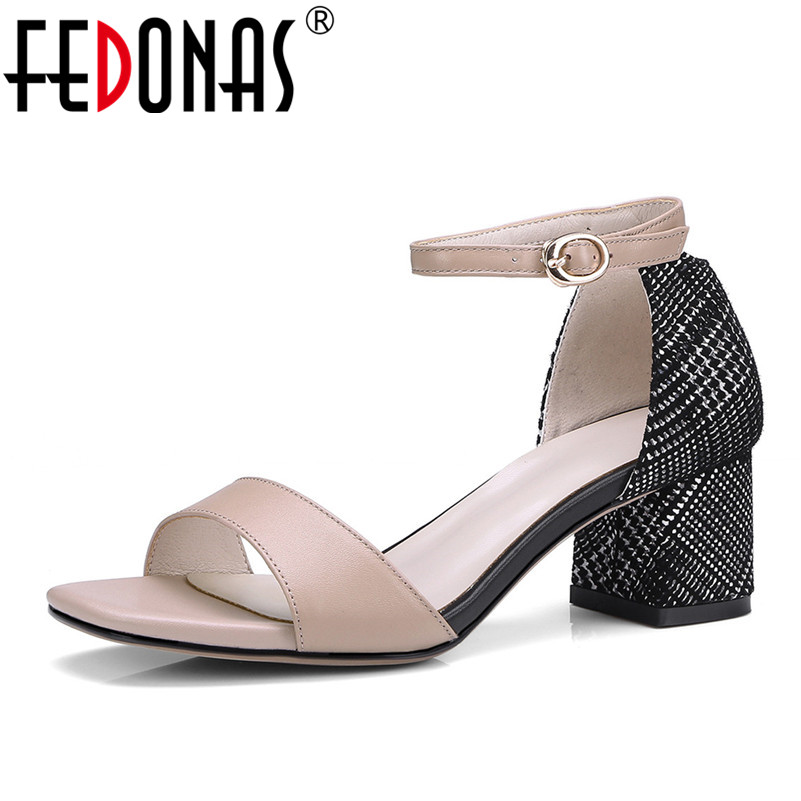 FEDONAS Korea Style Women Sandals Sexy High Heels Pumps 2018 Elegant Genuine Leather Wedding Shoes Woman Ladies Office Pumps система освещения halo 7 led wrangler dhl fedex ups ems