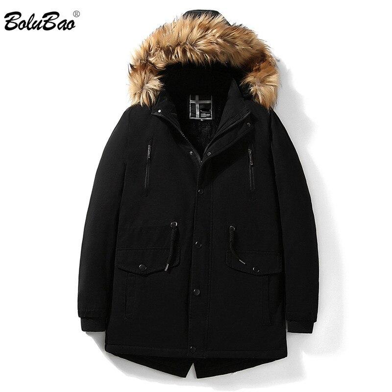 BOLUBAO Brand New Men's Winter   Parka   Jacket 2019 Men Warm   Parka   Solid Color Coat Male Fur Collar Hooded   Parkas