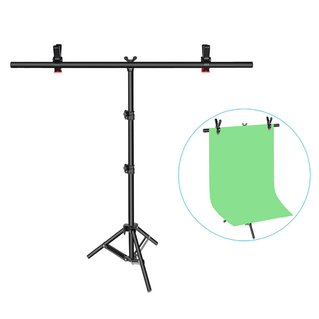 Neewer T-shape Background Backdrop Support Stand Kit:32-80 inches/81-203 centimeters Adjustable Tripod Stand with 2 Tight Clamps