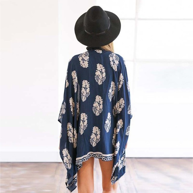 UV Sun Protection Kimono Cardigan Blouse Leaf Print Batwing Sleeve Womens top and Blouse Summer seaside Beach Casual Tops