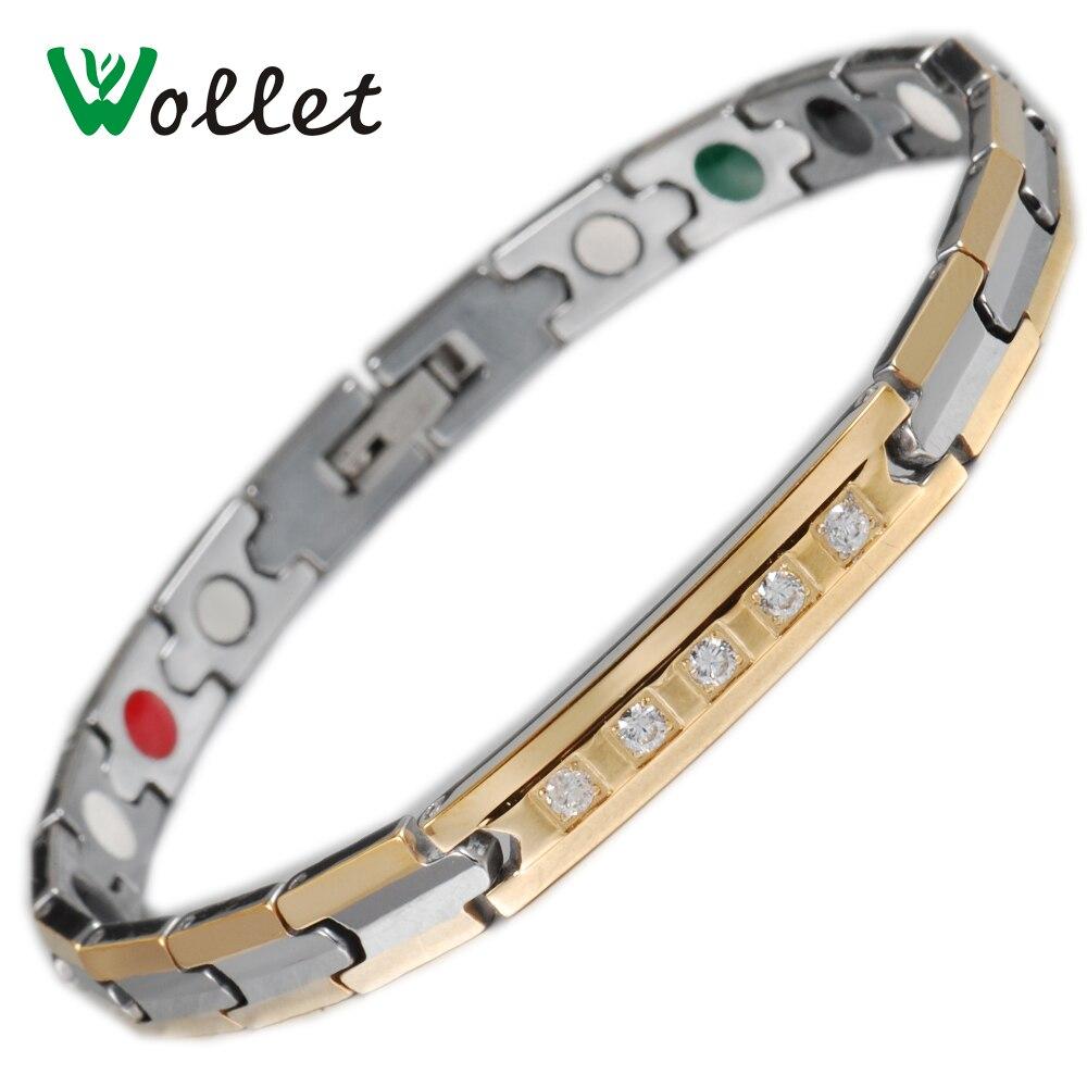 Wollet Jewelry Вольфрам магнитный браслет для женщин мужчин CZ Камень Золото Цвет 5 в 1 Инфракрасный германий турмалин отрицательных ионов
