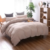 Home Textile Bedding Sets Duvet Cover Pillowcase 3 PCS Solid Luxury Grey White Beige Double Printed