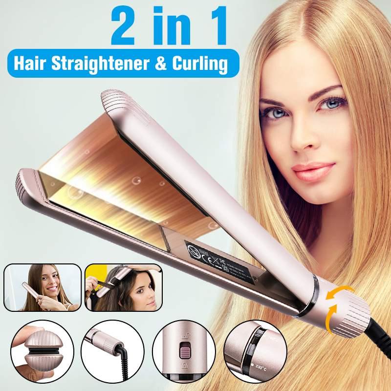 Tooca 2 en 1 défriser les cheveux bigoudi professionnel cheveux plat fer céramique doré électrique bigoudi outils de coiffure avec peigne