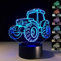 Creative Tractor Shaped 3D LED Desk Light Colorful Car Night Light Remote Control Indoor Lighting Acrylic Table Lamp Wholesale