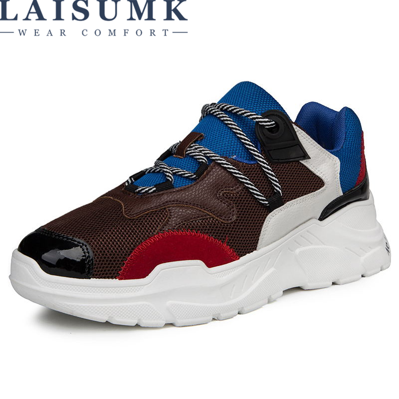 LAISUMK Men Shoes 2018 Summer Sneakers Breathable Casual Shoes Fashion Comfortable Lace up Men Sneakers Shoes