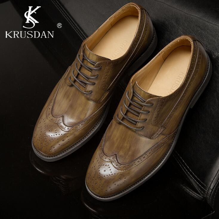 [krusdan]2017 Designer Classic Men Dress Shoes Genuine Leather Black Brown Bullock Carved Formal Retro Oxfords Size38-46