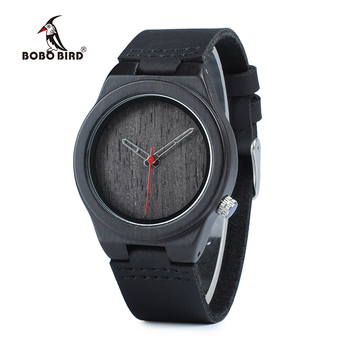 BOBO BIRD WP11 Classic Black Wood Watch for Women Brand Design 4 O'clock Lug Dial Face Quartz Watches as Gift OEM Dropshipping Women's Watches