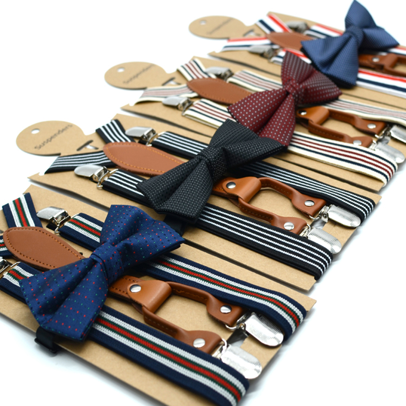 Striped Suspenders Bow Tie Set Adult Size Women Men 's Brace Tie Polyester Material Black Tie Adjustment Length 120 Cm