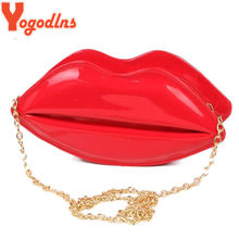 Yolns Fashion Women Leather Handbag Cartoon Messenger Bag Shoulder Y Jelly Gloss Day Clutch Evening Red Lips