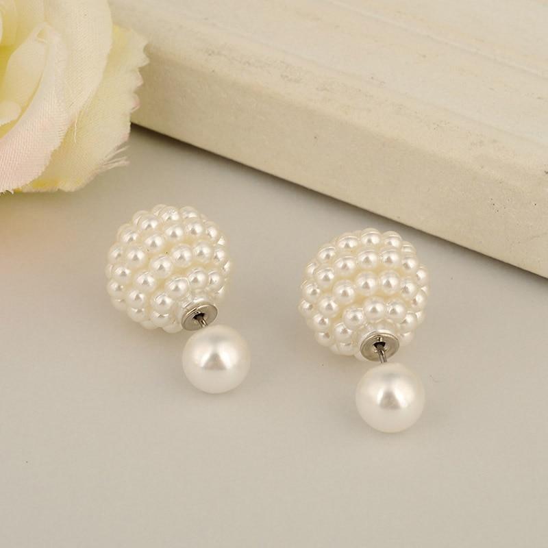 Wholesale! aros women double pearl clip on earrings  jewelry Multi-Color ear cartilage statement stud earrings  E1499- E1502