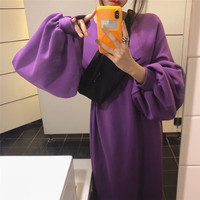 SuperAen Women Casual Dress Elegant Sleeve Maxi Dress Fashion Lantern Sleeve Loose Dresses 2018 Autumn Winter Long Dress