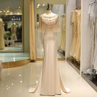Beautiful beading cape Long Evening Dresses 2018 Elegant champagne satine court train homecoming dress wedding Party Prom Gowns