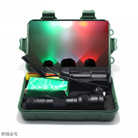 Tactical Q5 T6 White/Green/Red LED Flashlight Light Lamp Hunting Torch 18650 Pressure Switch Mount Waterproof Hunting Light Lamp