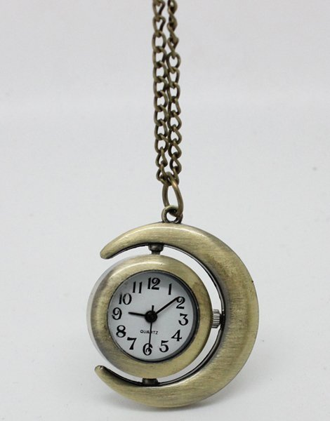 free shipping Bronze Sun Moon pocket watch necklace. moon necklace, chain length: 80cm 6pcs/lot