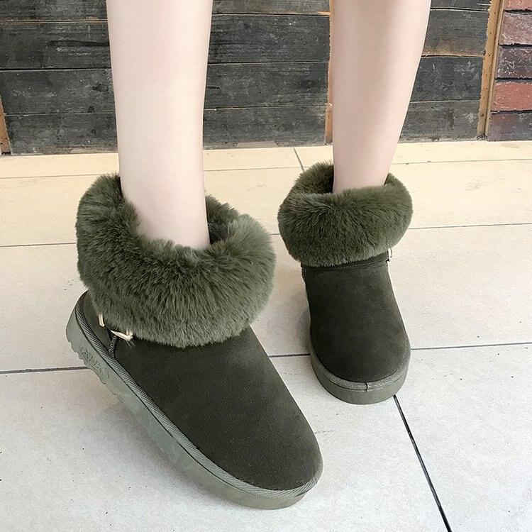 Peluche Invierno Gamuza Nieve Las Moda Pajarita De Zapatos Botas verde  Plataforma Más Plana Señoras Militar Negro gris Goma En 2018 Piel Mujer ... 1c7e4513cc76