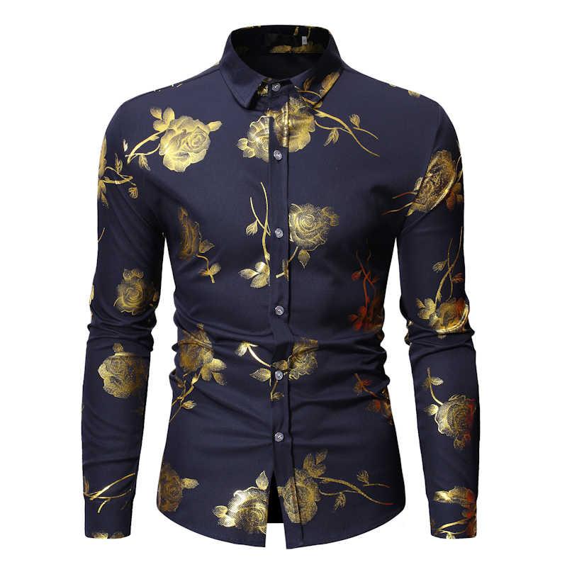 メンズゴールドローズ花柄シャツ 2019 ブランド花スチームパンクシュミーズ白長袖ウェディングパーティーブロンズカミーサ Masculina