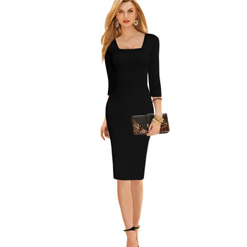 Womens werk dress elegante 3/4 mouwen herfst dress knielengte formele zakelijke werk kantoor little black dress met vierkante hals