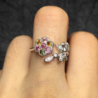3 5mm Rose 925 Sterling Silvery Natural Tourmaline Ring Fine Jewelry Women Rings