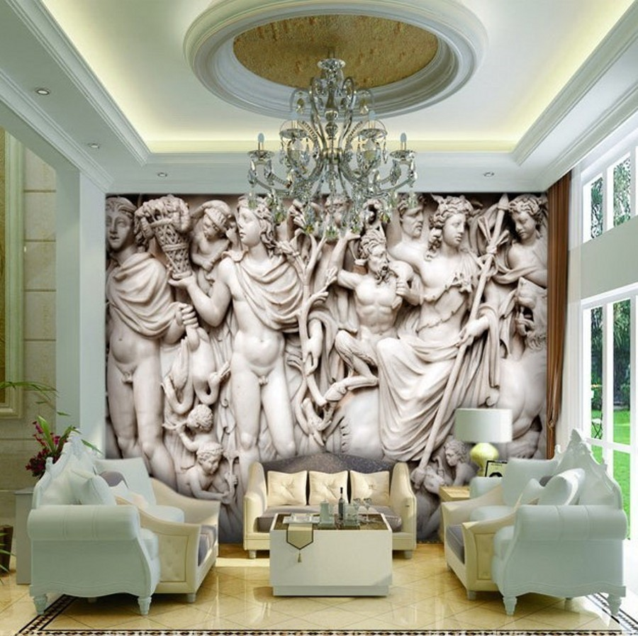 Bedroom Art Drawing Bedroom Wallpaper Price Colour Combination For Bedroom Asian Paints Boys Blue Bedroom Ideas: Beibehang Mural 3d Wall Paper European Sculpture Like