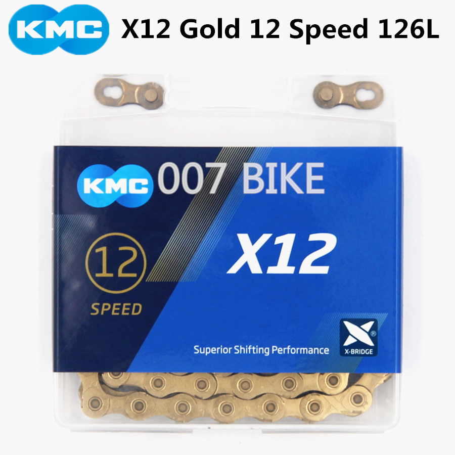 KMC X12 gold Chain 12 Speed Mountain Bike Bicycle Chain Original X12  MTB Road Bike 126L 24 speed Chains-in Bicycle Chain from Sports & Entertainment