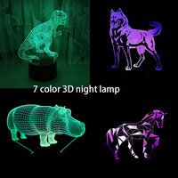 7 Color Zebra Horse Lamp 3D Visual Led Night Lights For Kids Touch USB Table Lamp Baby Sleeping Nighttime Hippo Dinosaur Design