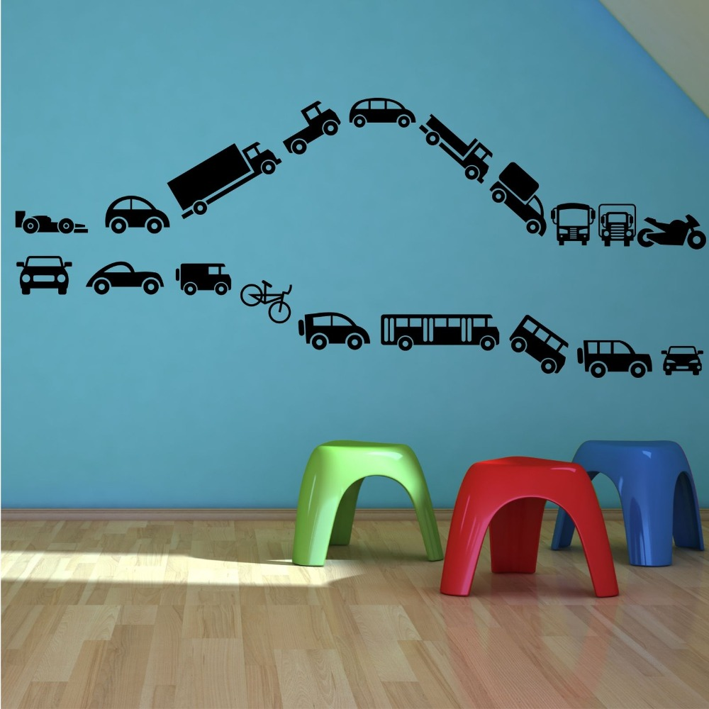 macchinine bike camion camion set wall stickers home decor vinyl ... - Stencil Camera Da Letto