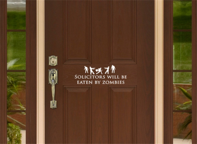 YINGKAI Funny No Soliciting Sign With Zombies Solicitors Will Be Eaten By  Zombies Door Sign Home