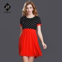 The New Spring And Summer 2017 European Women T Shirt Polka Dot False Two Slim Dress