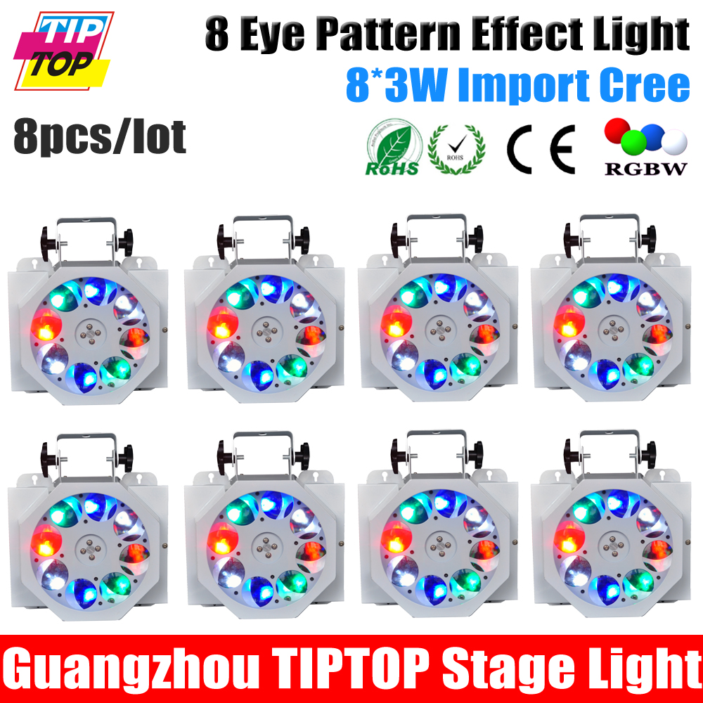 Freeshipping 8XLOT Led 8 Eye Pattern Beam Light 8 3W Cree Lamp KTV Light Ceiling Mounted
