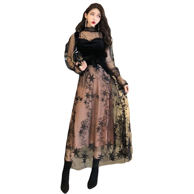 Dames De Coréenne Version Les 1 Vague Sangle Point Chemise Robe Maille Arc Couture Tempérament 2019 wx4UIRqTn