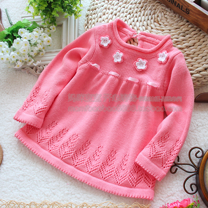 Retail new  spring autumn kids clothes girl sweater pullover baby knitted sweater skirt top baby outerwear