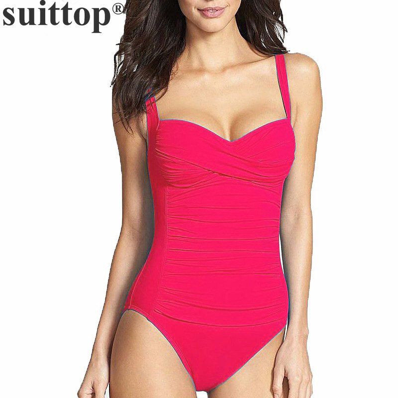 suittop Swimwear One Piece Swimsuit for Women 2017 Summer Beachwear Push Up Bathing Suits Retro Swim Wear Monokini Plus Size xxxl one piece swimsuit push up plus size swimwear famale 2017 black backless bodysuit summer beachwear bathing suits monokini